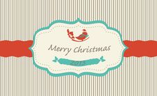 Free Christmas Greeting Card With Cartoon Bird Royalty Free Stock Photo - 27972955