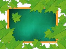 Free Chalkboard With Maple Leaves Stock Photography - 27973432