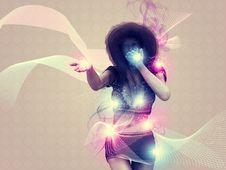 Girl Blowing Magic Lights Stock Photos