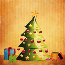 Grunge Christmas Tree With Gifts Stock Images