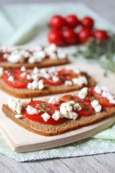 Cherry Tomato And Feta Bread Slice With Thyme Stock Image