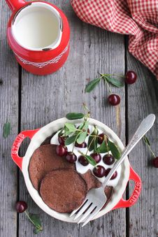 Chocolate Pancakes With Vanilla Cream And Cherries Royalty Free Stock Image