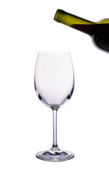 Empty Wine Glass And Bottle Of Red Wine Stock Images
