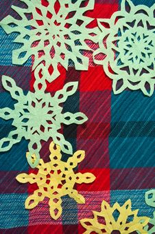 Free Winter Background With Handmade Paper Snowflakes Stock Photo - 27976170