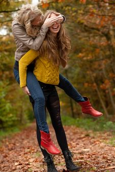 Free Girls Having Fun In The Forest Royalty Free Stock Photos - 27976188
