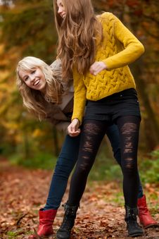 Free We Are Having Fun In The Woods Royalty Free Stock Photo - 27976215