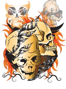 Free Bone Skull Fire Stock Photo - 27977540