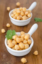 Free Two Cups Of Boiled Chickpeas Royalty Free Stock Image - 27984686