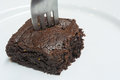 Free Chocolate Brownie With Fork Stock Photo - 27984740