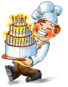 Chef Holding A Big Cake With Candles Stock Photography