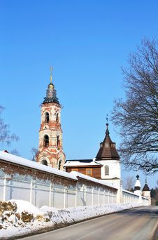 Free Belfry And Wall Tower Of The Monastery Stock Image - 27982631