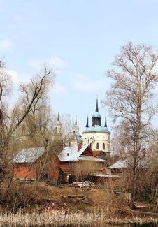 Rural Landscape With Church Stock Photography