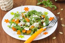 Salad With Pumpkin, Feta And Arugula Royalty Free Stock Image