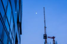 High Business Building With Metal Crane At Dawn Royalty Free Stock Image