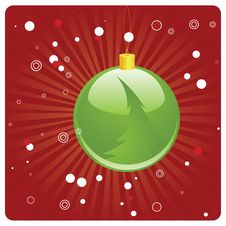 Free Green Christmas Ball On Red Background Royalty Free Stock Photos - 27986828