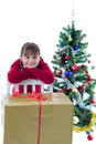 Free Happy Girl With Xmas Present Stock Photo - 27994140