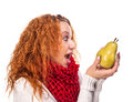Free Red-haired Girl With A Pears Royalty Free Stock Images - 27999379