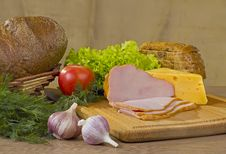 Smoked Meat And Cheese Royalty Free Stock Photo