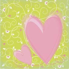 Free Background With Flowers And Hearts Stock Photography - 27996372