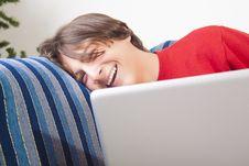 Teenage Boy Using Laptop Royalty Free Stock Photo