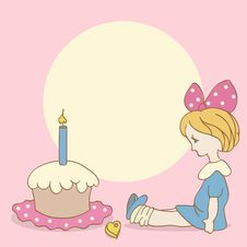 Birthday Background With Girl And Cake Royalty Free Stock Photography