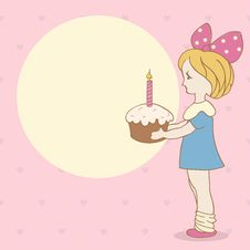 Birthday Background With Girl And Cake Royalty Free Stock Photos