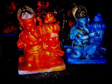 TWO GANAPATIS-THE ANCIENT HINDU ELEPHANT GOD-THE GANESH Stock Image