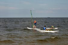 Windsurfing Lesson Royalty Free Stock Images