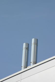 Free Two Stainless Steel Ventilation Chimneys Royalty Free Stock Photo - 284175