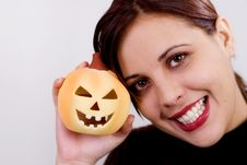 Free Girl And Halloween Pumpkin Royalty Free Stock Image - 286666
