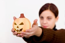 Free Girl And Halloween Pumpkin Royalty Free Stock Photography - 286667