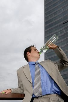 Free Businessman Drinking Water Royalty Free Stock Images - 2803989