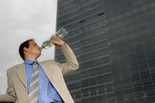 Free Businessman Drinking Water Royalty Free Stock Photos - 2803998