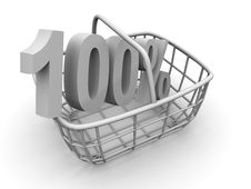 Free Consumer S Basket With Percent Royalty Free Stock Photo - 2804335