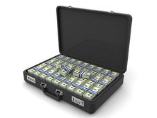 Free Suitcase With Dollars Royalty Free Stock Photography - 2804367