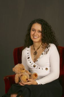 Free Smiling Girl With Teddy Bear Stock Image - 2805181