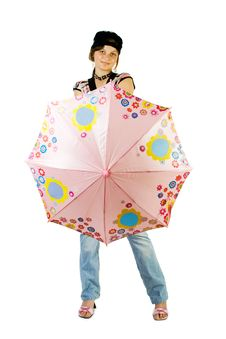 Young Girl With Umbrella Royalty Free Stock Photo