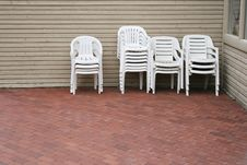 Empty White Chairs Royalty Free Stock Photos
