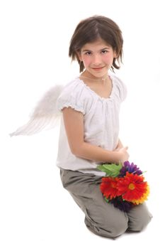 Free Angel Girl With Flowers Stock Images - 2809234