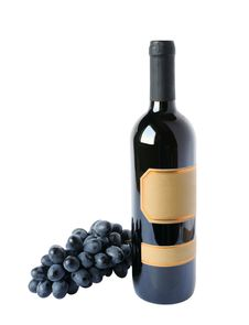 Free Bottle Of Wine And Grapes Cluster Stock Photography - 28005972