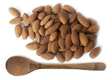 Almonds And Wooden Spoon Royalty Free Stock Image