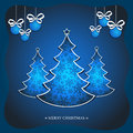 Free Christma Blue Card Royalty Free Stock Photos - 28011678