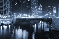 Downtown Chicago At Night Royalty Free Stock Photo