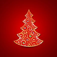 Free Christmas Golden Tree Royalty Free Stock Images - 28011629