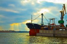 Cargo Ship In The Port Stock Photos