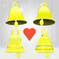 Free Four Glittering Golden Bell Series Royalty Free Stock Images - 28026309