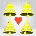 Free Four Glittering Golden Bell Decoration Vector Pack Stock Images - 28026324