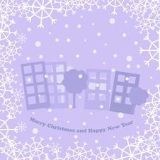 Christmas Card With Town Royalty Free Stock Photography