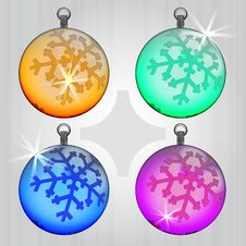 Free Four Colorful Ball Decoration With Snowflake Royalty Free Stock Images - 28026289