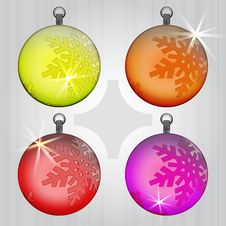 Free Four Colorful Ball Snow Decoration Motive Royalty Free Stock Images - 28026319